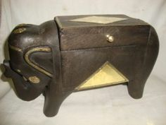Rare Golden Look Brass Fitted Elephant Statue Jewelry Box