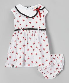 Look at this #zulilyfind! White Flamingo Belted Dress & Diaper Cover - Infant by Rococo #zulilyfinds