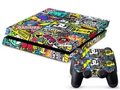 Sticker Bomb Console & Controller Decals for the Sony Playstation 4 Playstation 4 Console, Playstation Games, Ps4 Games, Skins Ps4, Control Ps4, Consoles, Playstation 4 Accessories, Videogames, Mundo Dos Games