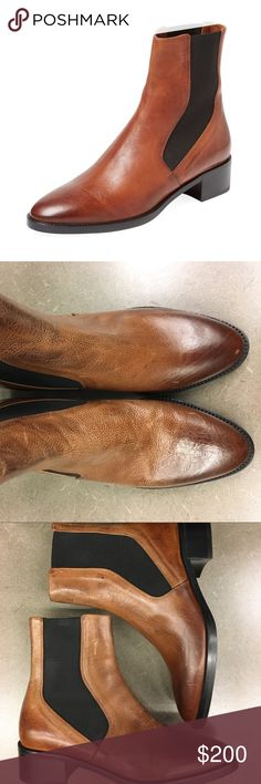 NEW Vince Carrington Chelsea Boot Bootie New without box! Size 6. Retail $395. Please refer to all pics! Leather upper Elasticized side panels Stacked heel Leather insole Factory Distressed toe and leather for a worn in look Vince Shoes Ankle Boots & Booties