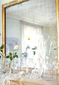 Decor Idea (groupings of glass vases).  Absolutely beautiful!  I LOVE the old mirror!!!