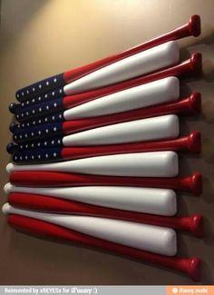 American Flag decor, http://media-cache-ec0.pinimg.com/originals/f9/dd/ea/f9ddea11472569db0e53d04124cb927f.jpg Baseball Games, Baseball Equipment, Baseball Necklace, Fondue Forks, Flatware, Tableware, Sports, Diy Wall, Easy Diy