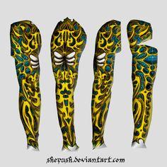 Full sleeve tattoo 13 by shepush on DeviantArt Tattoo Sleeve Designs, Sleeve Tattoos, Hand Tattoos, Tatoos, Bio Organic Tattoo, Color Schemes, Tattoo Ideas, Deviantart, Sleeves