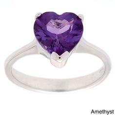 Oravo Sterling Silver Gemstone Heart-cut Solitaire Ring (Amethyst Size 6), Women's, Purple
