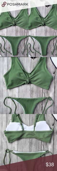 Ribbed Bikinii Straps bralette swim top featuring a tie detail at the center bust, with padding bra. String bikini bottoms featuring a tie detailing on the sides. Two piece solid color bathing suit. the whole swimwear feature a ribbed lines. TOP FITS LIKE MEDIUM BOTTOM LIKE. XS/S (tag reads medium) NOT FROM LISTED BRAND    Material: Chinlon,Spandex  Bra Style: Padded Blue Life Swim Bikinis