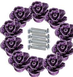 10PCS Flower Shape Ceramic Drawer Knobs