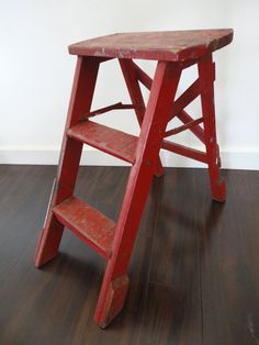 Wood Step Ladder Step Stool Vintage Chippy Red by KimBuilt on Etsy $39.00 & vintage wooden step stool -ladder -chippy paint -shabby chic-plant ... islam-shia.org