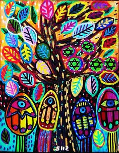 Judaica Hamsa Trees  SILBERZWEIG ORIGINAL by SandraSilberzweigArt, $16.00