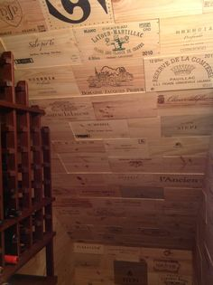 Wine crate panel ceiling