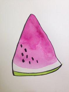 Watermelon Painting 9x12 on paper Artist- Jennifer Flannigan