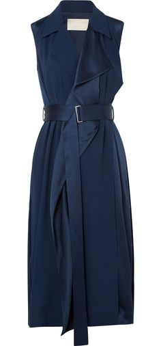 Meghan looked effortlessly stylish in the Belted Satin Wrap Dress by Jason Wu. The sleek belt secures the wrapped waist of the trench-inspired dress sewn from an elegantly draped crepe-back satin. Jason Wu, Day Dresses, Dresses For Work, Trench Dress, Belted Dress, Royal Fashion, Her Style, Mantel, Ideias Fashion