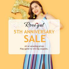 Rosegal 5th Anniversary Sale, All at amazing prices, Play game to win big coupons.