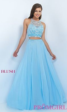 Floor Length Unique Back Two Piece Blush Prom Dress at PromGirl.com