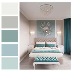 Have trouble mixing and matching color in your home? Not sure what the RIGHT paint colors are for your room? A Room Color Story gives you a color palette for your room and coordinating paint colors fo Bedroom Colour Palette, Bedroom Wall Colors, Bedroom Color Schemes, Teal Bedroom Walls, Teal Bedroom Decor, Best Colour For Bedroom, Grey Teal Bedrooms, Bedroom Ideas Paint, Master Bedroom Color Ideas