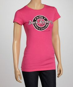 Take a look at this Hot Pink Family Calling Cap-Sleeve Tee - Women by Club Red on #zulily today!