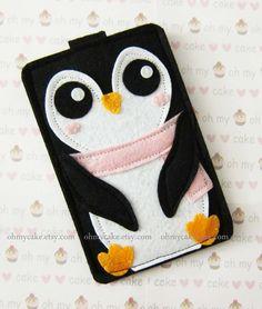 Custom Size Penguin iPhone Case Cell Phone Sleeve Felt by ohmycake