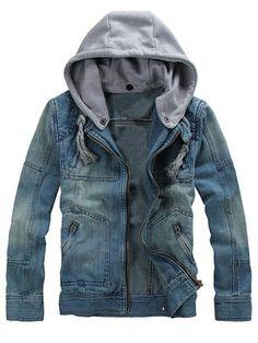 $20.08 Multi poche zippée amovible Capuche Veste en jean