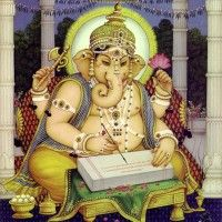 Ganesha writes down the veda's Indiana, Ganesh Bhagwan, Shiva Parvati Images, Wedding Album Design, Ganesh Images, Ganesha Painting, Lord Ganesha, Jai Ganesh, Lord Vishnu