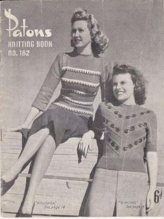Vintage 1940s  Paton's Knitting Pattern No 182  by jennylouvintage