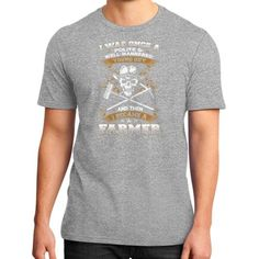 I WAS ONCE A POLITE FARMER District T-Shirt (on man)
