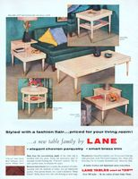Lane Tables 1956 Ad. Step table, model 1317. Cocktail table with drawer, model 1319. End table, model 1315. Drum table, model 1312. Corner t...