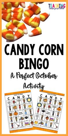 """If you're looking for a fun class activity for October or a class Halloween party, this game is just for you!  This Candy Corn Bingo set includes 25 different game boards and calling cards.  Teachers simply draw from the calling cards, read the name of the picture aloud. Students will find the picture on their bingo card and cover it with a piece of candy corn. Once a student gets 5 in a row, they can call out either """"Bingo"""" or """"Candy""""  It's a perfect addition to a class party!"""