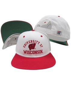 b4f4e50ea00 Wisconsin Badgers White Red Two Tone Plastic Snapback Adjustable Snap Back  Hat   Cap CZ118FIKVNH