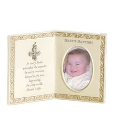 This 'Baby's Baptism' Double Frame by Grasslands Road is perfect! #zulilyfinds #GrasslandsRoad #Baby #Boy #Girl Great Baby Shower Gift Idea #GiftBoxed #BlessedNewArrivals #Memory #Memorabilia #Cross #Picture #photo #Ceramic