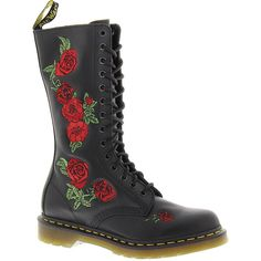 Dr Martens Vonda Embroidered 14-Eye Boot ($170) ❤ liked on Polyvore featuring shoes, boots, black, embroidered shoes, black shoes, ski shoes, kohl shoes and dr. martens