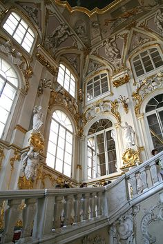 "Inside the Hermitage Museum, St Petersburg, Russia. ""Neo-Grecian"" style. The surfaces of the facades are ornamented in Baroque and Renaissance motifs. Carvings done by sculptor Terevenev."