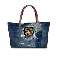 5f180b6914 FORUDESIGNS Fashion Handbag Casual Women Bags Cute Cat Denim Printing  Ladies Handbags Large Shoulder Bags Ladies Tote Satchel