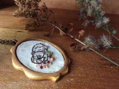 #Jewelry  #Necklace  #Fiber # thehornet'snest  #hand embroidered  #needlework  #wood #jewelry #pendant  #gift  #christmas gift #sweet  #sleeping bear  #bear necklace  #bear jewelry  #woodland
