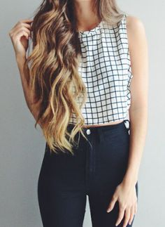 Black and withe crop top and black pants