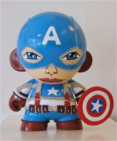 Custom Captain America vinyl munny toy by Artist Denise Vasquez
