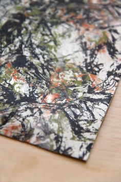 Jackson Pollock Inspired Leather Print  by Pineapple Studio. #pattendesign #surfacedesign