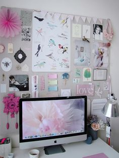 I love the mac computer with the note board stuck to the wall be hide it