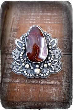 Ring | Rosy Revolver Designs.  Laguna Agate and sterling silver.