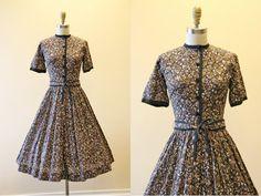 50s Dress - Vintage 1950s Dress - Brown Black Neutral Cotton Full Skirt Shirt Dress S - Leopard Lace