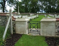 CONTALMAISON CHATEAU CEMETERY begun by fighting units evening of 14.7.1916 & used from 9|1916 - 3|1917 by Field Ambulances. A few burials were made Plot I, Rows B & C, 8-9|1918. Graves were added after the Armistice by concentrations from battlefields of the Somme & the Ancre. 18 German graves & 1 French removed to other burial grounds. Nearly 300 WWI casualties commemorated here. Over 40 are unidentified, a special memorial is erected to 1 soldier from Australia known to be buried among…