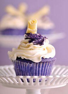 Purple Velvet Cupcakes! I must make these this football season.