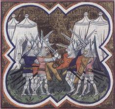 14th century / medieval tent ( manuscript : BNF Français 271 Ab Urbe Condita, Folio 120v, 1390-1400, France )