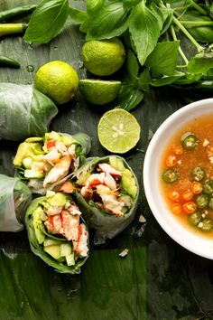 These not-quite-authentic-but-awfully-delicious summer rolls are filled with just-cooked lobster meat, cucumber, avocado and fresh herbs. They make a fine lunch, wrapped in a lettuce leaf and dipped in a gingery, limey, hot peppery sauce. Cut small, they can be served with drinks, or they could be an elegant first course at a sit-down dinner. (Photo: Fred R. Conrad/The New York Times)