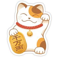 "Pegatinas ""Japanese Lucky Cat, Calico Maneki Neko"" de chibibikun | Redbubble"