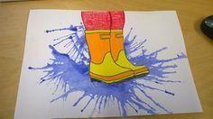 Kunst in der Grundschule: Pfütze You are in the right place about kindergarten art projects winter H Club D'art, Art Club, Spring Art Projects, Spring Crafts, Art 2nd Grade, Arte Elemental, Classe D'art, Kindergarten Art Projects, School Projects