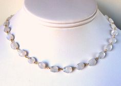 Moonstone Gold Necklace, Faceted Moonstone Chain Necklace in Gold