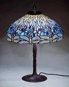 "22"" Dragonfly Dome Tiffany table lamp, design #1507 of Tiffany Studios New York."