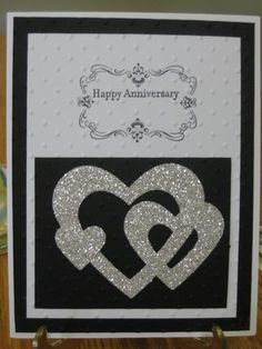 Stamp Set: Four Frames, Teeny Tiny Wishes. Card Stock: Whisper White, Basic Black, Silver Glimmer. Ink: Basic Black. Other: Hearts Collection Framelits Die, Perfect Polka Dots Textured Impressions Embossing Folder.