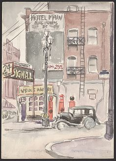 Citation: City scenes, 193-?. Kamekichi Tokita papers, Archives of American Art, Smithsonian Institution.