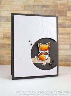 Card with critters - fox card #fox - Karte füchse - kort med ræv- foxy fox Lawn Fawn Love