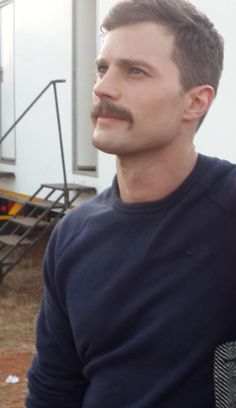 Jamie Dornan with his sexy tache on the set of Jadotville (credit to his co-star Amy Louise Wilson)